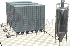 Baghouse filter dust conveying to silo