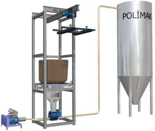 Big bag unloader with pneumatic conveyor for silo loading